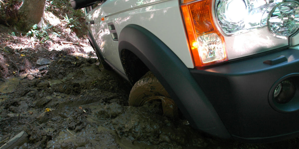 Land Rover Tire in Mud